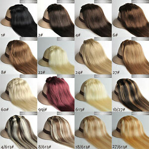 Women-039-s-Clip-in-100-Real-Human-Hair-Extension-Straight-15inch-7Pcs-70g-80g-100g