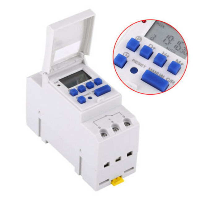 Digital LCD Programmable Timer DIN Rail Time Relay Switch Power 16A