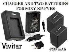 2 Battery + Charger FOR SONY NP-FV100 4200 mAh DCR-SR68 DCR-SR68 CX150,CX550,RX