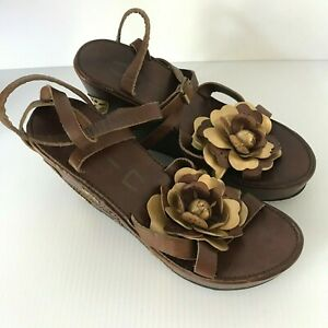 YIN-Womens-Lace-Up-Wedge-Heels-US-Brown-Gold-Sandals-Shoes-Italy-Sz-41-11-US