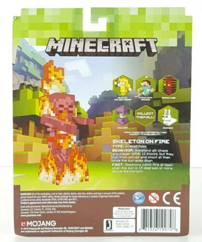 Minecraft Skeleton on Fire with Bedrock Block New in Package Kids Toy Gift