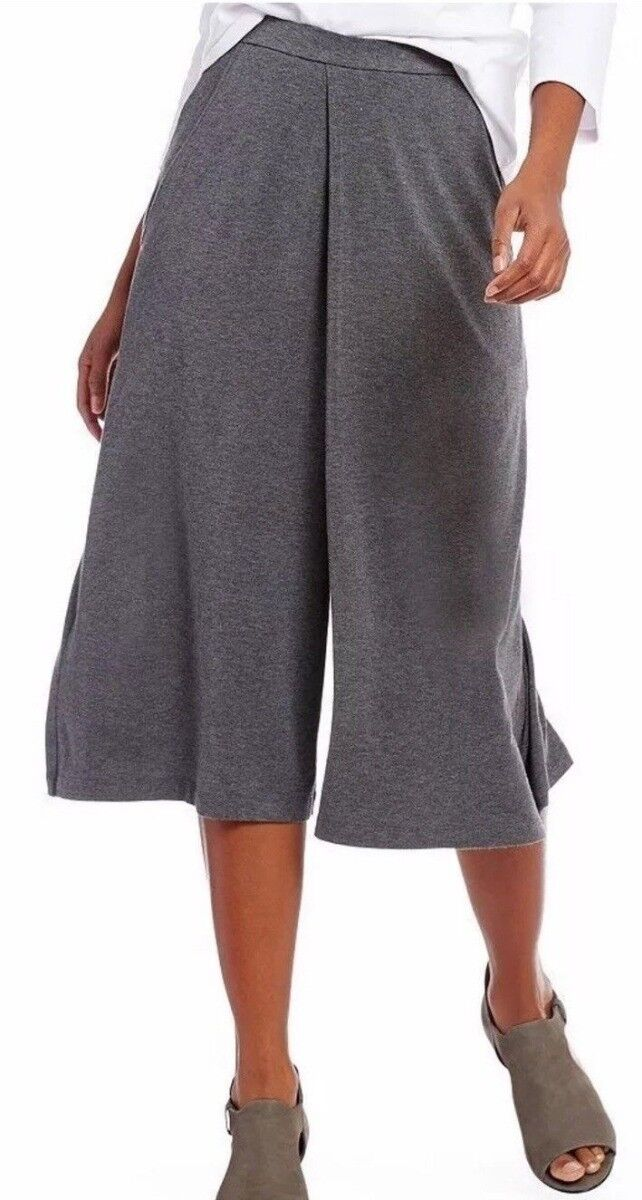 Eileen Fisher Ash Lightweight Tencel Stretch Jersey Cropped Culottes L NWT