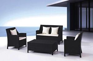 Divano rattan nero salotto arredo giardino design moderno for Arredo giardino rattan offerte