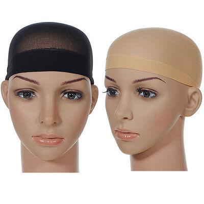 2pcs Unisex Stocking Wig Liner Cap Snood Nylon Stretch Mesh Black Nude Beige