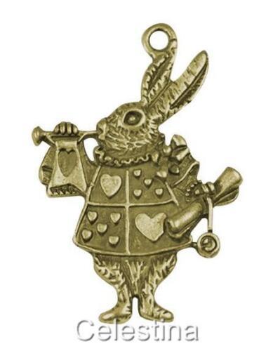 10 x Antique Bronze Alice In Wonderland Rabbit Charms NF LF CF Herald