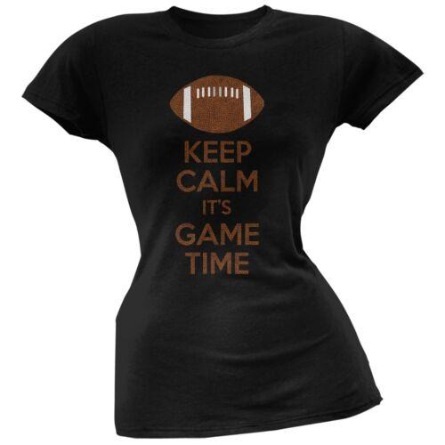 Keep Calm Game Time Football Black Juniors Soft T-Shirt