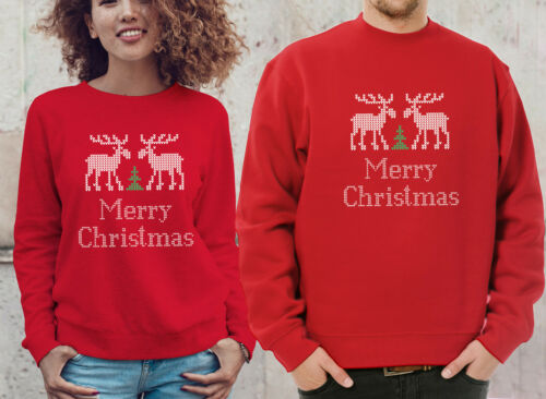 His and her Scandinavian style Merry Christmas red jumpers set with reindeer