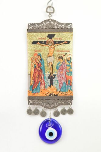 Nazar Wall Hanging Jesus on the Cross Illustrated Evil Eye