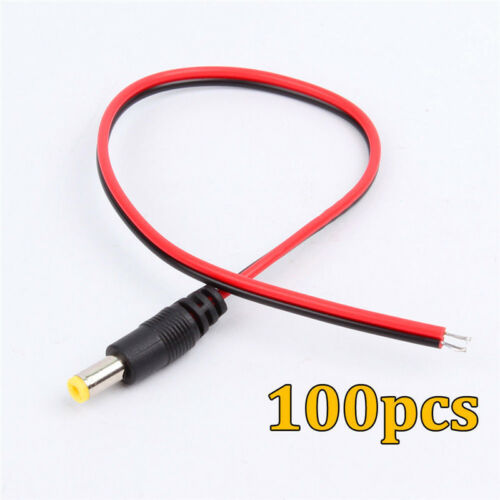 5.5x2.1mm 12V Power Pigtail Male Cable Plug Wire CCTV Security Camera x100pcs
