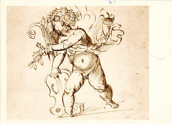 1974 LARGE Russian card CUPID WITH A VIOLIN by Titian Russian/English captions