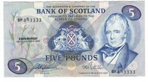 Bank-of-SCOTLAND-5-Pounds-aXF-Banknote-1980-P-112d-Prefix-BP-Paper-Money