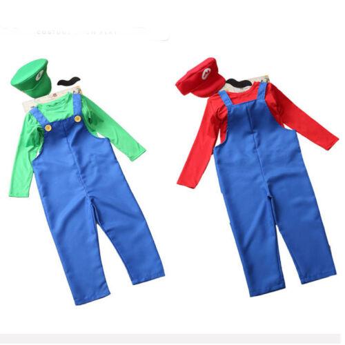 Kids Super Mario Luigi Brothers Costume Boys Girls Games Party Fancy Dress