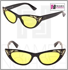 556239b2fdf GUCCI GG3807S Shiny Black Mother Of Pearl Thin Yellow Cat Eye Sunglasses  3807