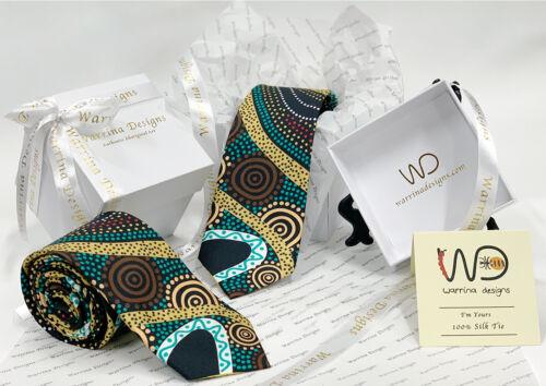 Warrina Designs 100/% Silk Tie Authentic Aboriginal Design Art Gathering by River