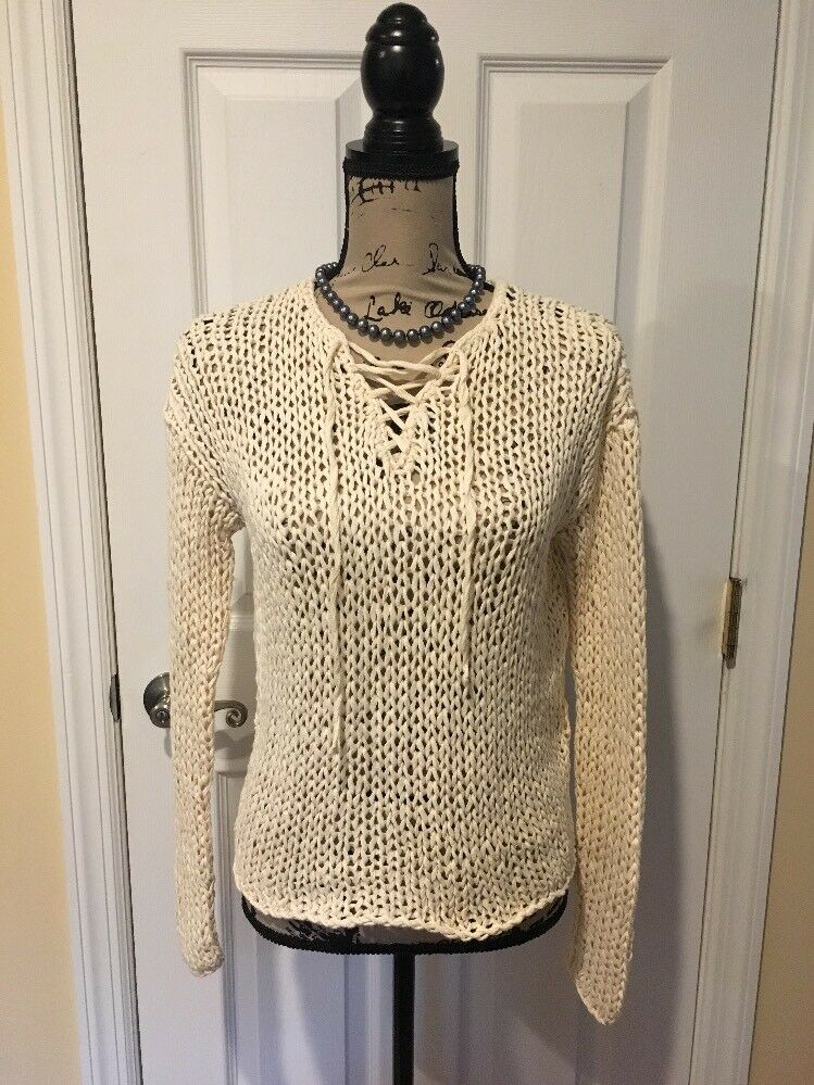 Vince Knitted By Hand Women's Cotton Sweater XS EUC Vince.