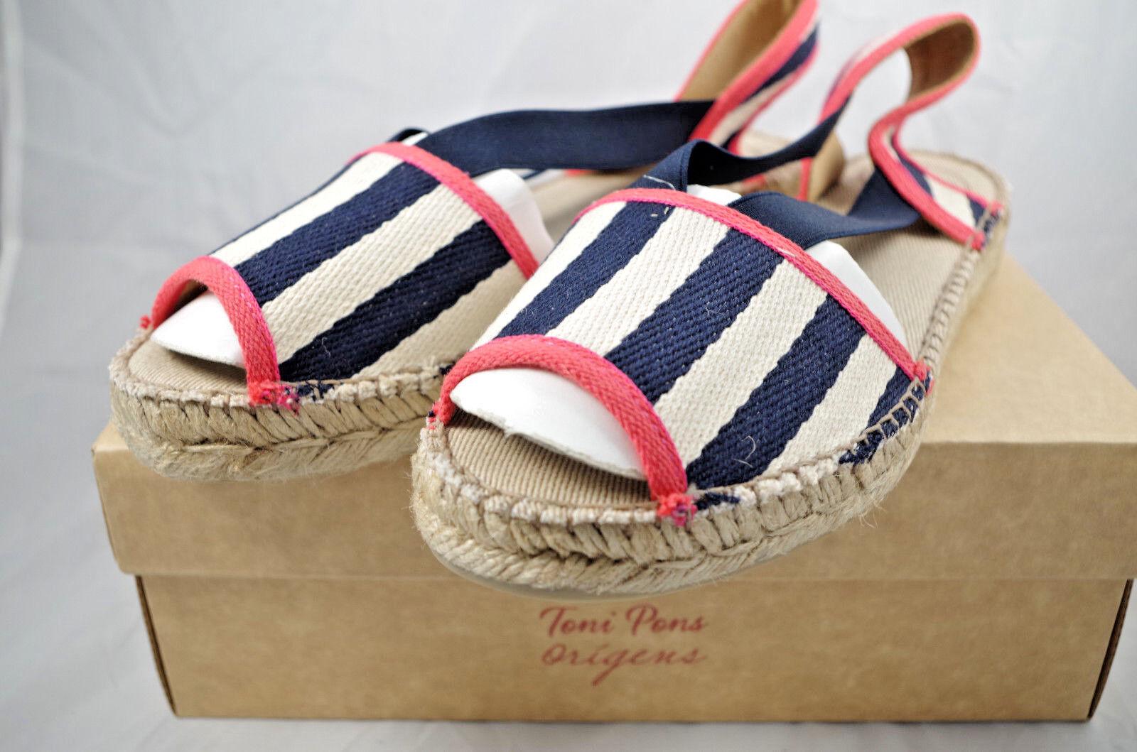 Toni Pons Estel-BE Navy Sandals Espadrilles Made in Spain Sz 38 EUR 7.5 US