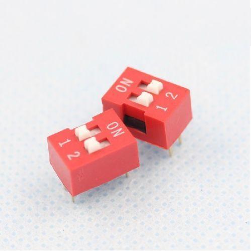 10 Piezas De Diapositivas Tipo módulo de conmutador 2.54 mm 2 posición forma Dip Rojo Pitch