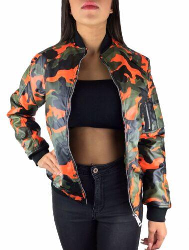 Da Donna Mimetico Bomber giubbotto ecopelle foderati di transizione giacca blogger S-XL