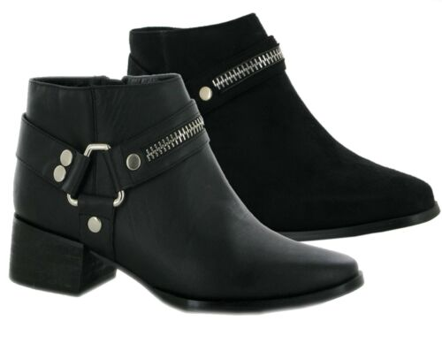 WOMENS LADIES BLOCK MID HEEL ANKLE FULL SIDE ZIPPIER FORMAL CAUSAL BOOTS SHOES