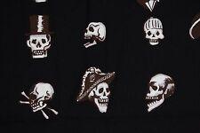 Alexander Henry VOODOO SKULLS Fabric Brown on Black Skeleton Head By 1/2 Yd
