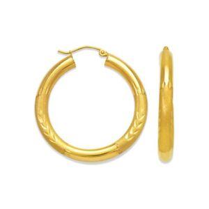 14K-Solid-Yellow-Gold-DC-Designer-Big-Hoops-Women-2-5mm-Tube-Hoop-Earrings