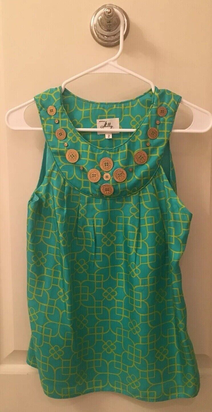 Milly of New York Silk Blouse, Top, Green, Size 2, Worn Only Once