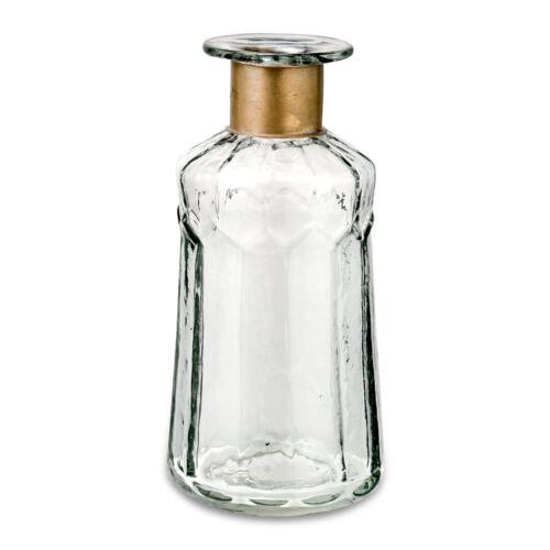 Chara Decorative Hammered Nkuku 1 Short Glass Bottle Stem Vase Gold Brass Neck