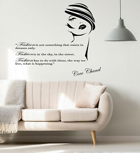 Vinyl Wall Decal Fashion Quote Coco Chanel Words Shopping Beauty Stickers 4279ig Ebay