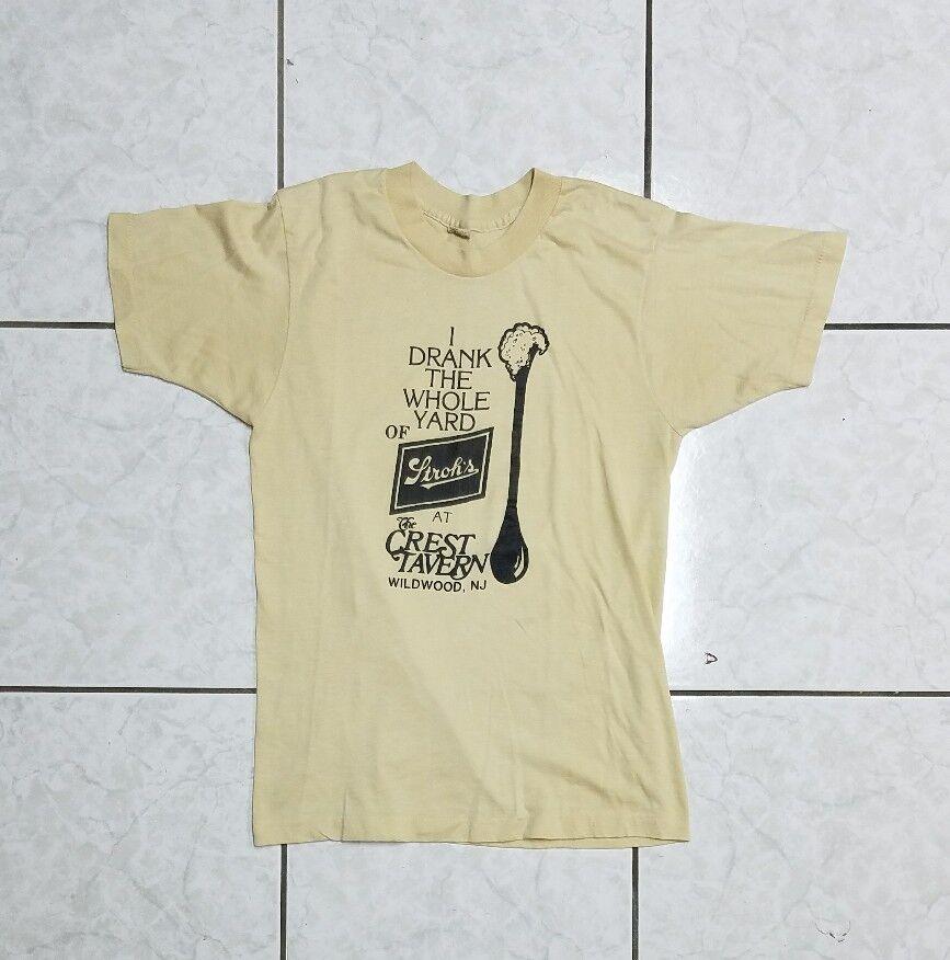 91b4129b Vintage 80's Screen Stars Stroh's Beer Wildwood Single Stitch T-Shirt  [MEDIUM]