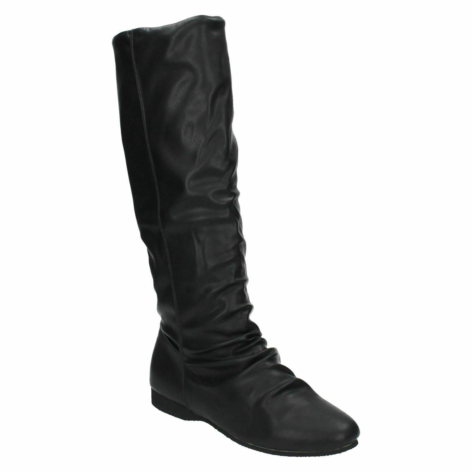 WOMENS LADIES BLACK FLAT ROUCHED WARM FUR LINED LONG BOOTS SPOT ON F5477 £9.99