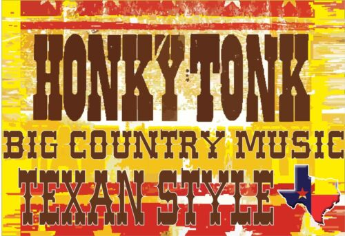 Honkytonk musique country et western T shirt C /& W Honky-tonk Texan style TEXAS