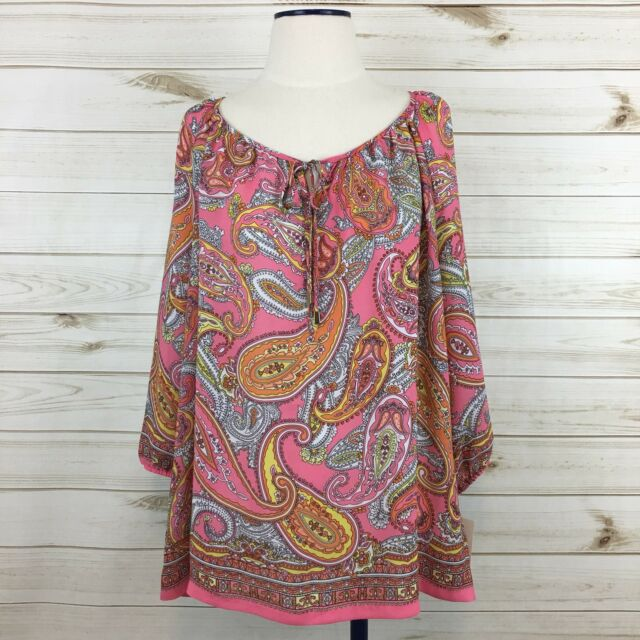 NEW Charter Club Woman Pink/Yellow Paisley Tie Keyhole 3/4 Sleeve Blouse. 1X