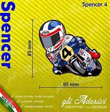 Adesivo Freddie Spencer caricatura stickers carene casco 9 x 10 cm