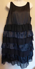 Dorothy Perkins UK18 EU46 US14 new black sleeveless satin/crepe tiered dress