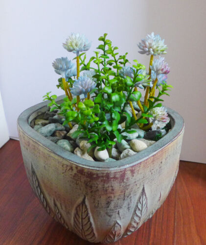 4 Artificial Succulents Green Grass And Stone Lotus Plants