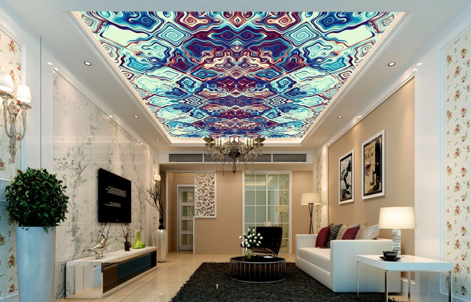 3D Diamond Ceiling WallPaper Murals Wall Print Decal AJ WALLPAPER US