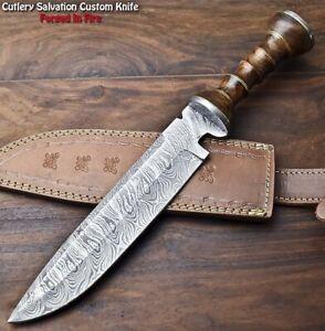 Handmade Damascus Steel Blade Bowie Hunting Knife | WALNUT WOOD