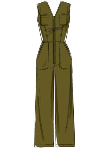 mit Reißverschluss Overall McCalls Schnittmuster M7908 Taschen