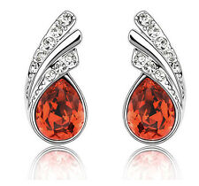 Elegant Red Crystal Angel Wings Silver Studs Earrings Rhinestone E590