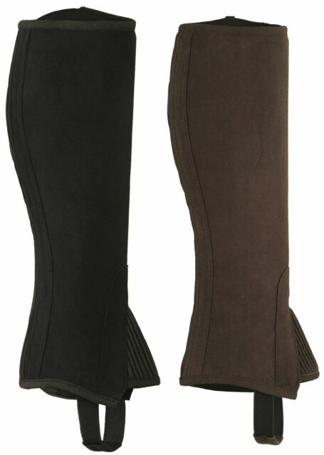 ADULTS/CHILDREN HALF CHAPS BLACK BROWN WASABLE AMARA SYNTHETIC LEATHER-ALL SIZES