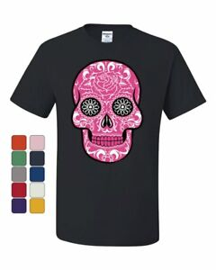 Pink-Sugar-Skull-With-Roses-T-Shirt-Day-of-the-Dead-Tee-Shirt