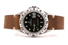 Original Rolex Mens 16570 Explorer II - Black Dial - Horween Strap