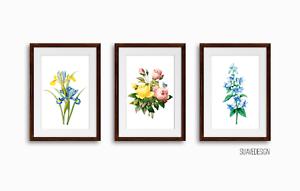 Botanical Prints Set of 3x Floral Vintage Wall Decor Plant Arts Flower Unframed