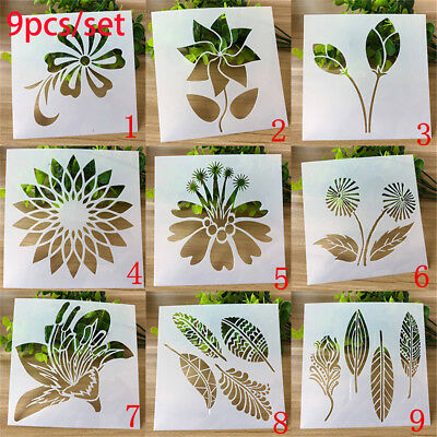 9pcs//set Layering Stencils Flower Pattern Scrapbooking Embossing Template