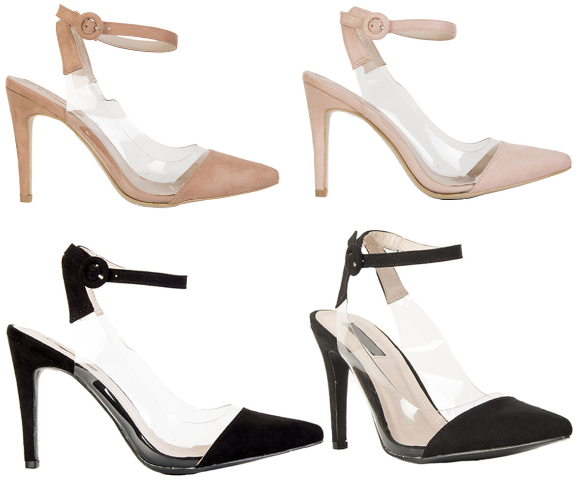 Womens Ladies Perspex Ankle Buckle Strap Shoes Heels Pointed Front Court Shoes Strap Size 7ba9f1