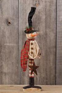9bd0b57f2dd38 New Primitive Christmas Long Tall Top Hat Rustic Star Snowman Doll ...
