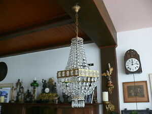 Alter prunkvoller Korblüster Lüster Lampe Deckenlampe ca. 1930 Frankreich