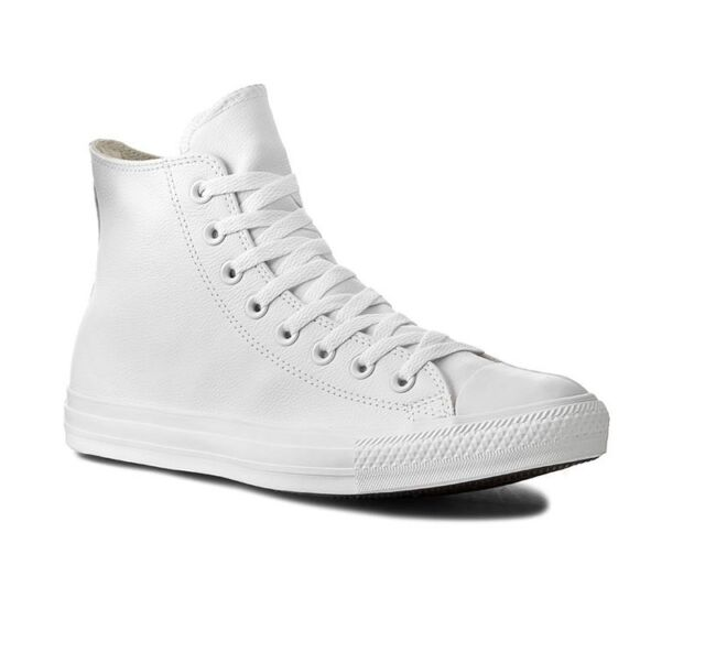 cc35af1f23912 Converse All Star Leather Unisex Mens Womens High Top Trainers White ...