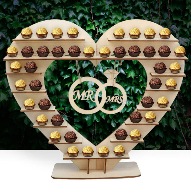 Excellent Wooden Heart Ferrero Rocher Chocolate Sweet Candy Stand Wedding Table Decor Download Free Architecture Designs Embacsunscenecom
