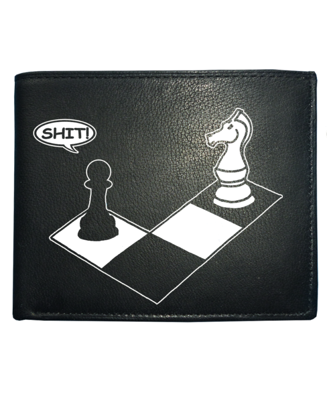 Check Mate - Knight And Pawn Funny Chess Player Leather Wallet